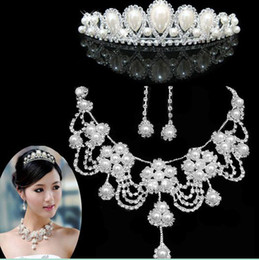 Wholesale j3 Wedding Bridal jewelries necklace earrings crown Wedding Accessories three set