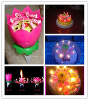 Wholesale Fast shipping Spinning Musical Birthday Candle Flower Party Sparkler Cake Topper Rotating