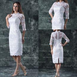 Wholesale Retro high collar half sleeves applique knee length white wedding dresses bridal gowns BG223