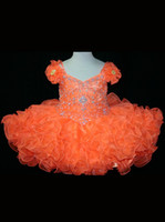 Wholesale 2013 Orange Baby Girl Cupcake Off Shoulder Organza Princess Pageant Flower Girl Dresses Formal Gowns