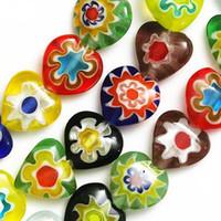 Wholesale Millefiori Glass Beads Single Flower Heart mm