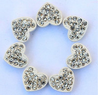 beaded bracelects - 20pc mm Disco Ball Pave CZ Crystal Heart bead fit for Shamballa Bracelects lm05