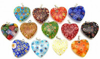 Wholesale Millefiori Glass Heart Pendants Beads Lampwork Pendant Mixed Colors Delivery