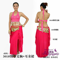 Cheap Belly dance Parure tribal belly dancing costumes top+skirt+hip scarf ear skirt set women wear ears