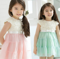 Wholesale 2014 New arrival girl s tutu dress rose flower lace dress princess dress children summer short sleeve fashion clothes baby party dress
