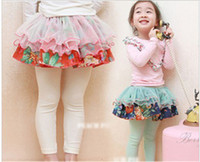 Wholesale children cute girls flowers gauze fake two culottes leggings dandys