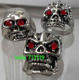 30x Silver Skull Skeleton Red Eye Mixed Gothic Biker bright Shiny Alloy Rings Wholesale Punk style