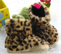 Wholesale (6-9M) 14 yards Fur Baby ugg boots leopard grain quality warm skid a toddler boots, plush boots 12pcs r08