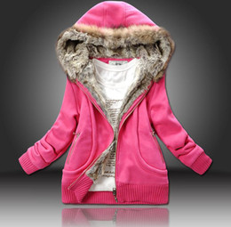 Wholesale 2013 New Arrival Faux Fur Lining Women s Fur Hoodies Ladies Winter Thickened Warm Sweatshirt