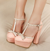 Wholesale 2013 women s japanned leather shoes summer fashion button belt high heeled platform shallow mouth thick heel sandals