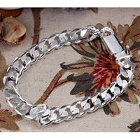 10mm*21cm Men ST925 Silver Texture Bracelet Fashion Jewelry,...