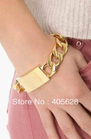 Fashion hot chunky chain ID bracelet, gold color, ID size is...