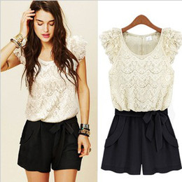 Wholesale NEW Style Best Selling Ladies Jumpsuits Girl Casual Lace Jumpsuit Suit Short Black White S M L XL