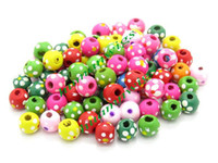 Wholesale 300pcs Popular Mixed Dyed Dot Round Wood Spacer Beads Charms Bead Fit Bracelet Jewelry LZC0140