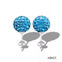 Wholesale New Shining mm Blue Crystal Disco Ball Beads Studs pairs Nice Gift Shamballa Earrings Hot