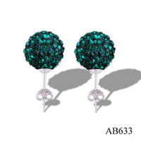 Wholesale Dazzling Bling Shamballa Earrings pairs New Shining mm Dark Green Crystal Disco Beads Studs New