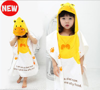 Wholesale baby bath towel kids bathrobe cartoon washcloth pure cotton beach towel Yellow hippo bathrobe