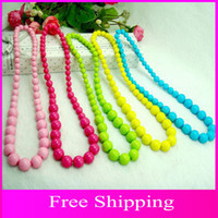 Wholesale 2015 Children Pearl Necklace Candy Colors Resin Statement Necklaces For Girls