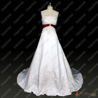 Wholesale Hot A Line White Strapless Embroidered Beads Satin Beach Wedding Dress Red Fan Back Custom Made H321
