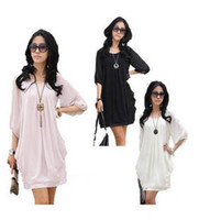 Wholesale 524 women new fashion black white pink chiffon loose casual dress ladies summer autumn work dresses plus big size M XL