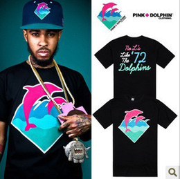 Wholesale 10pcs Pink dolphin brand T Shirts Mens Womens apparel tide Summer Tshirts Casual trend sports colors