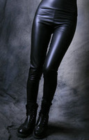 Leggings Skinny,Slim Women Large !! WOMENS Sexy Wet Leather LOOK Matt Black HIGH WAISTED Stretchy Tight LEGGINGS Pants (XL XXL)