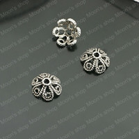 Wholesale Fashion Jewelry Findings Alloy Antique Silver MM Flower Hat amp Bead Caps Twisted petals