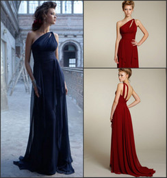 High Quality A Line Floor Length Sleeveless One Shoulder Chiffon Bridesmaid Dresses