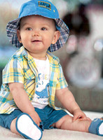 Wholesale children summer boys Hawaiian plaid shirt white T shirt shorts pant set set dandys
