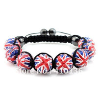 Fashion bead wholesalers uk - BCX115 Hot Sale Shamballa Bracelet UK Flag Union Jack London Olympic Gifts mm Disco Ball Bead
