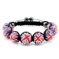 Women's bead union - BCX115 Hot Sale Shamballa Bracelet UK Flag Union Jack London Olympic Gifts mm Disco Ball Bead