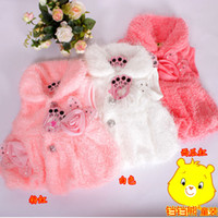 Wholesale Girls Baby Flower Fur Waistcoat New Winter Baby Fluffy Flower Coats Kids Vest Girls Winter Clothes