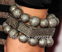 Bangles bangles with diamonds - Square rhinestone bangle with two bead bracelets black metal with black diamond