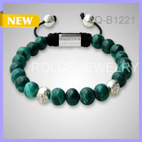 Wholesale Trendy MM Silver Rosary Green Agate Beads No Logo Braided Bracelet