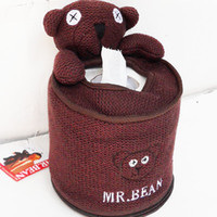 Wholesale Free Shopping Cute Mr Bean Bear Cylindrical Facial Tissue Box Cover Plush Toy Mr Bean Napkin Box