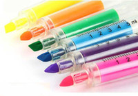 Wholesale Creative colorful syringe highlighter pen office and study marker pen colors