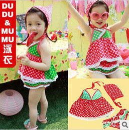 Wholesale Children swimwear female loli wind wave point dream more lace three piece suit exported to South Kor