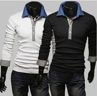 Men Cotton Long Sleeve NEW Korean Model Mens Slim Polo shirts Cotton Shirt Large Size M L XL XXL 3colours Black Grey White