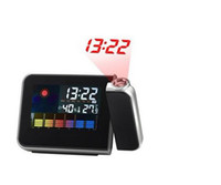 Wholesale 2013 LCD weather station Projection alarm clock Calender Thermometer Alarm and snooze function