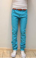 Wholesale NEW Fashion blue Men s casual Skinny Stretch JEANS Pencil Trousers CZJ296G