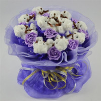 Wholesale 11pcs teddy bear and purple simulation rose Party Supplies birthday gift