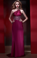Wholesale 2013 Latest High Fashion One shoulder Sexy Backless Stretch Silk Satin Beading Evening Dresses ED348