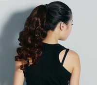 Wholesale 35CM PonyTail Horsetail Clip Wig In Hair Extensions pony tail curls horsetail hair piece with straps