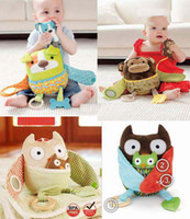 Wholesale Promotion dog owl monkey baby toys appease doll baby baby rattle toy cloth doll retail U Pick style