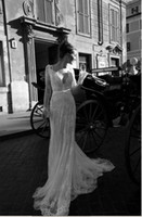 Wholesale Graceful White ivory Style Long sleeve Lace Wedding Dresses Sexy V Neck Backless Evening Dresses