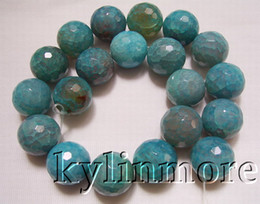 8SE08099a 20mm Fire Agate Faceted Round Beads 15.5""