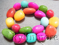 Wholesale 8SE08108a x16mm x25mm Multi Color Jade Nugget Beads quot