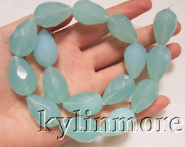 8SE08116a 16x25mm Blue Faceted Glass Crystal Teardrop Beads 15.5""