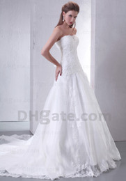 Wholesale Pure White Exquisite Sheath Strapless Beads Applique Lace Chapel Wedding Dress Cathedral Train H354