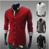Men 100% Linen  Fashion New Mens Casual Luxury Stylish Slim Long Sleeve Shirts